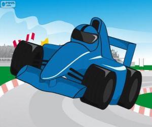 Układanka Niebieski samochodów wyścigowych F1