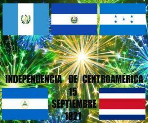 Układanka Niepodległości Ameryki Środkowej, 15 września 1821 roku. Obchody niepodległość od Hiszpanii w nowoczesnych krajach Gwatemala, Honduras, Salwador, Nikaragua i Kostaryka