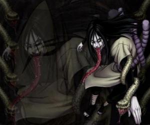 Układanka Ninja Orochimaru z wężami, jako część jego ciała po różnych modyfikacji