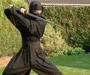 Układanka Ninja wojownika i walce z katana