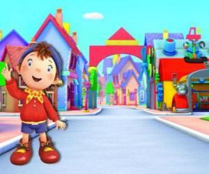 Układanka Noddy jest dzieckiem z drewna, który mieszka w małym domku w Toyland, miasto zabawek