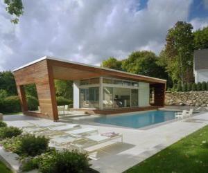 Układanka Nowoczesny dom jednorodzinny z basenem