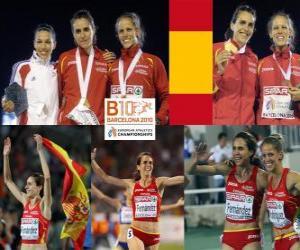 Układanka Nuria Fernandez mistrzem na 1500 m, Hind Dehiba i Natalia Rodriguez (2 i 3) z Barcelona Mistrzostwa Europy w Lekkoatletyce 2010