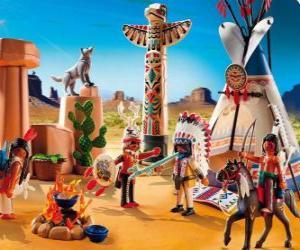 Układanka Obóz Indian Playmobil