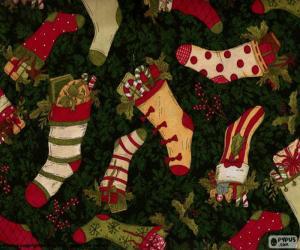 Układanka Obraz Bożego Narodzenia pończochy i buty