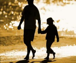 Układanka Ojciec lub tata spaceru z synem