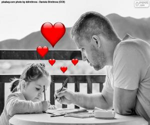 Układanka Ojciec malarstwo z córką