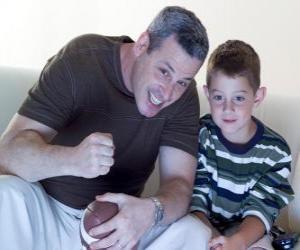 Układanka Ojcowie i syn korzystających z meczu