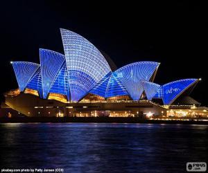 Układanka Opera w Sydney w nocy