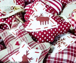 Układanka Ozdoby świąteczne, tkaniny