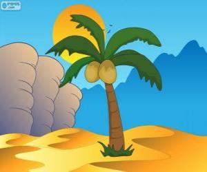 Układanka Palmy, drzewa w oazie na pustyni