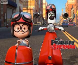 Układanka Pan Peabody i Sherman na motocykl z przyczepą