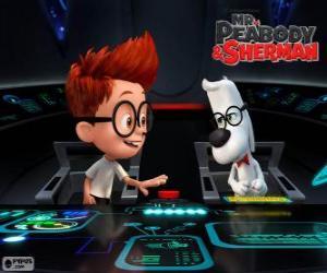 Układanka Pan Peabody i Sherman w jego wehikuł czasu