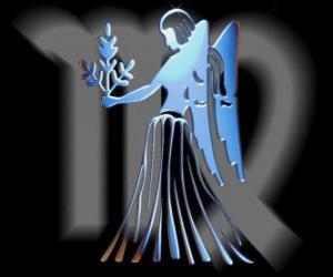 Układanka Panna. Panieńskie. Szósty znak zodiaku. Łacińska nazwa jest Virgo