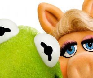 Układanka Panna Piggy i Żaba Kermit