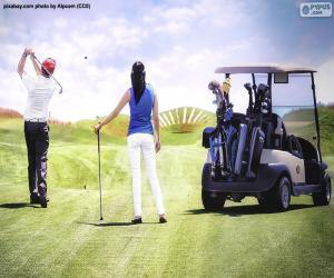 Układanka Para grająca w golfa