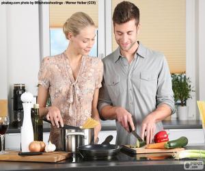 Układanka Para w kuchni