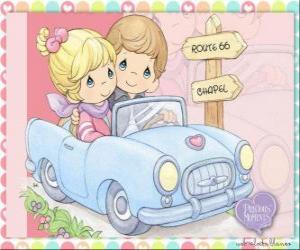 Układanka Para w samochodzie