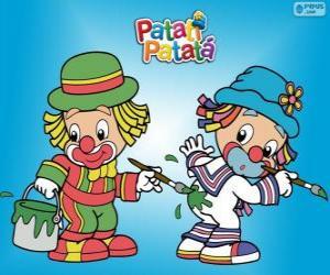 Układanka Patati Patatá klaunów, dwóch malarzy