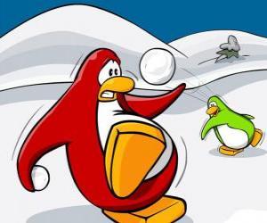 Układanka Penguins w wojnie śniegu w Club Penguin