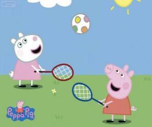 Układanka Peppa Pig, grać w tenisa