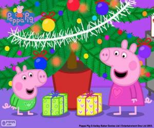 Układanka Peppa Pig i George na Boże Narodzenie