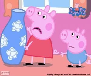 Układanka Peppa Pig i niebieski wazon
