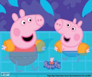 Układanka Peppa Pig idzie pływanie