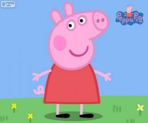 Układanka Peppa Pig z czerwona sukienka