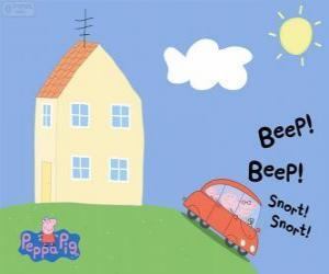 Układanka Peppa Pig z jej rodziny w samochodzie