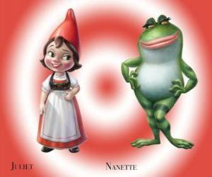 Układanka Piękna Julia, córka lidera Red gnomy ogród, ze swoim najlepszym przyjacielem ogród Nanette żaba