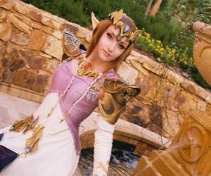 Układanka Piękna księżniczka Zelda z różą w ręku
