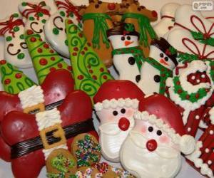 Układanka Piękne świąteczne ciastka o różnych kształtach