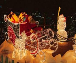 Układanka Piękne Boże Narodzenie sanie dużo prezentów