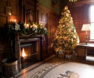 Układanka Piękny kominek odznaczony za świętami Bożego Narodzenia