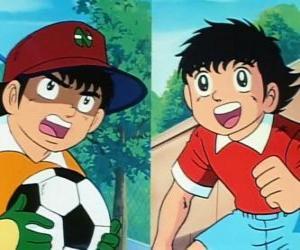 Układanka Piłkarz Tsubasa Ozora i jego przyjaciel Genzo Wakabayashi, który gra jako bramkarz