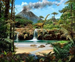 Układanka Piękny krajobraz z dinozaurami