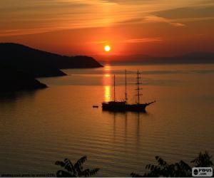 Układanka Piękny zachód słońca