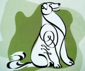 Układanka Pies, znak Dog, Year of the Dog w chińskiej astrologii. Przedostatni z dwunastu zwierząt chińskiego zodiaku