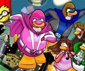 Układanka Pingwiny superbohaterów z Club Penguin