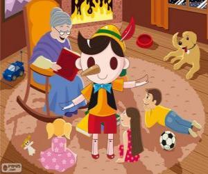 Układanka Pinokio. Drewniana marionetka która staje się dziecko