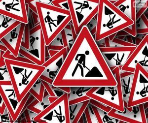 Układanka Pionowe znaki robót drogowych