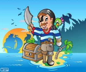Układanka Pirat z skrzynia skarbów