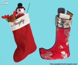 Układanka pończochy Boże Narodzenie prezenty wewnątrz