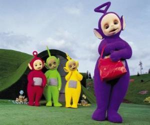 Układanka Po, Laa-Laa, Dipsy, a Tinky-Winky z czerwoną torbą w jego przedniej części domu