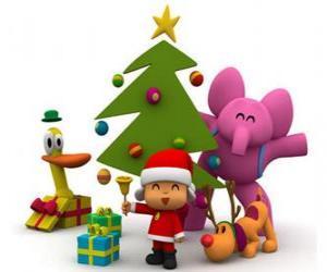 Układanka Pocoyo i jego przyjaciół na Boże Narodzenie