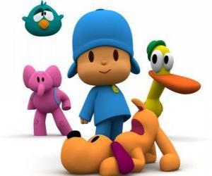 Układanka Pocoyo i jego przyjaciele Pato, Elly, Śpiący Ptak i Loula