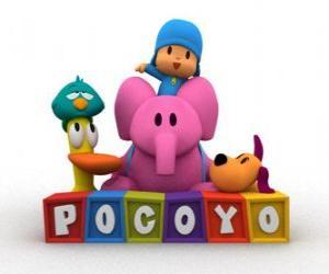 Układanka Pocoyo najlepszymi przyjaciółmi są Pato, Elly, Śpiący Ptak i Loula