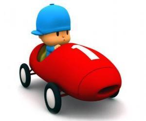 Układanka Pocoyo prowadzenia samochodu wyścigowego