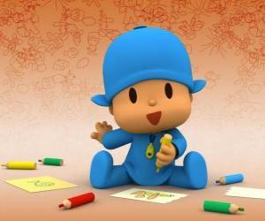 Układanka Pocoyo siedzi na podłodze i tworzenia rysunku na kartce papieru